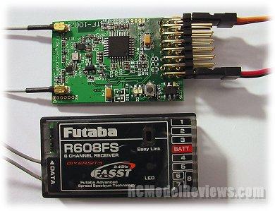 Estudio del Receptor TFR8 FASST compatible con FUTABA Tfr801